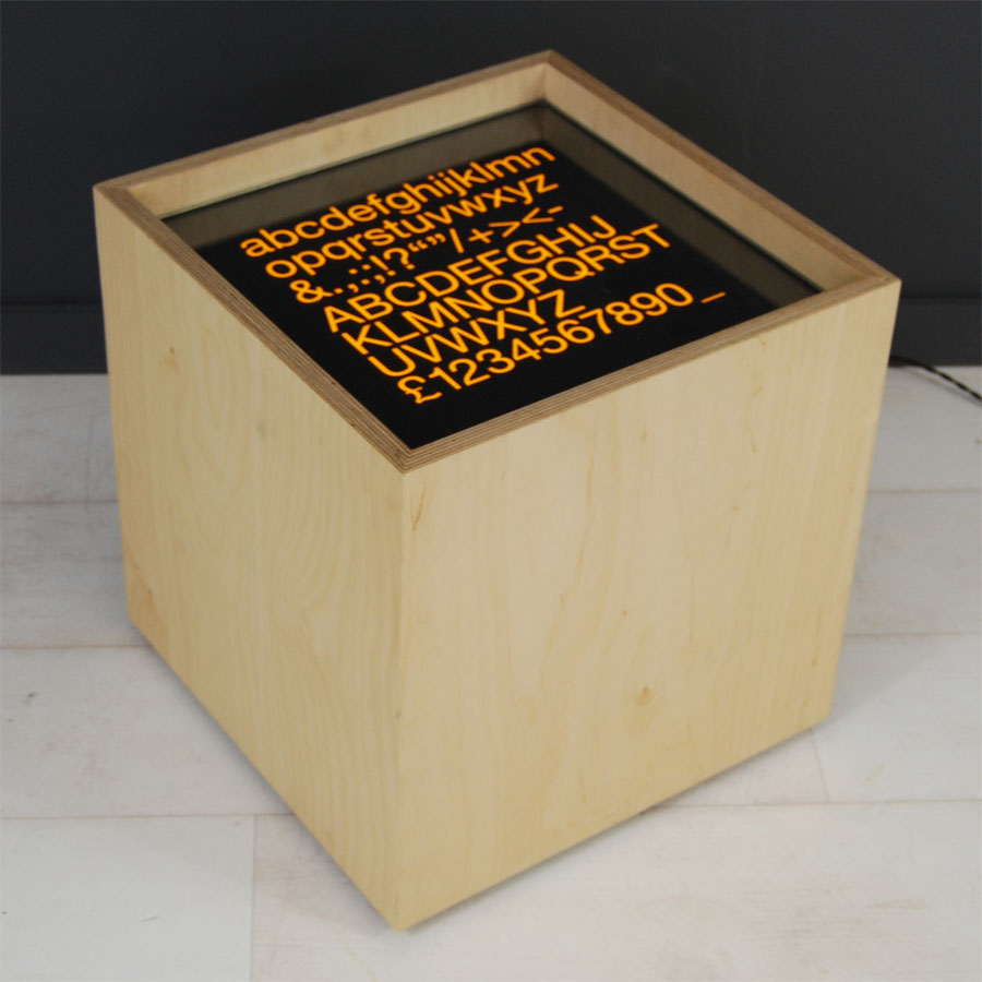 Tilt Originals - Helvetica light cube sidetable